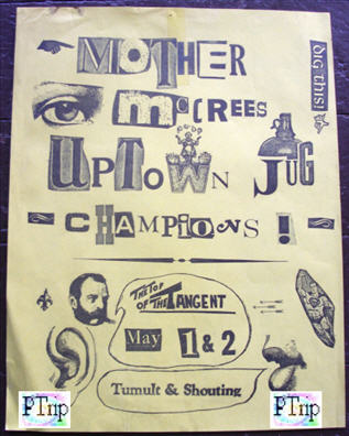 Here is a Poster for Mother McCree's Uptown Jug Champions for a gig a month before in May. This is the earliest known poster for Mother McCree's.