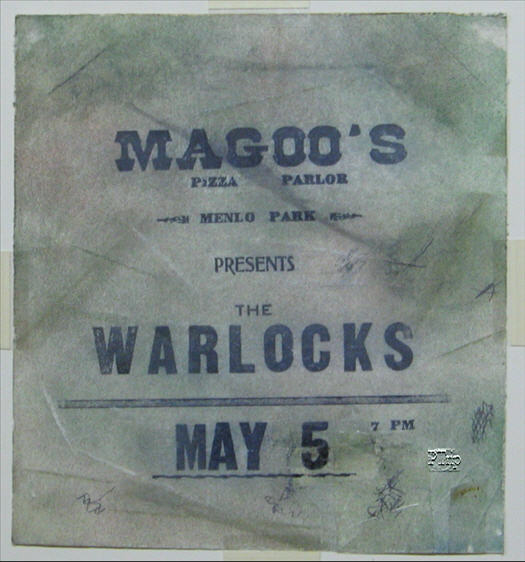 This is a One-of-A-Kind Poster for the Warlocks first paid gig at Magoos Pizza Parlor. This poster was taken down from a local Coffee Shop in the area, where these kind of events were often posted and advertised.