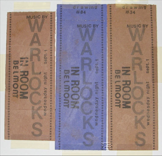 This is a One-of-A-Kind set of Used and Unused tickets for a Warlocks performance held at the In Room, in Belmont, Sept. 1, 1965. To my knowledge, these are the only surviving Warlocks tickets. From what I gathered about them from the original owner, they were made for a raffle that night. Each person who came through the door filled out their stub with their name and got entered to win something. What did they win? Who knows? Apparently, the owner bought a couple extra to take home and stash away with all his other early Warlocks collectables.