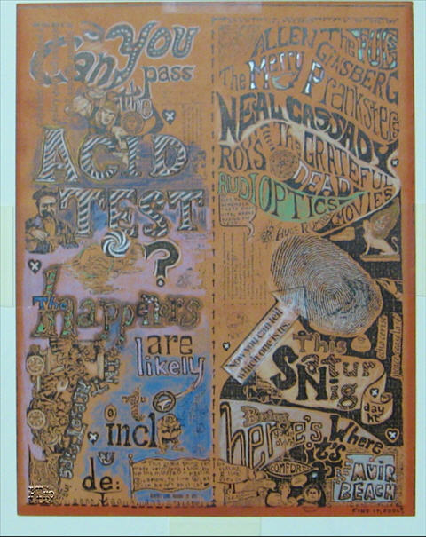 This is a One-of-A-Kind haind-painted handbill for Muir Beach Acid Test on Dec. 11, 1965. The book, &quot;Art of Rock&quot; featured one of these handbills, however, it was leftover, and not colored in until years later by Sunshine Kesey. The one shown here was hand-painted at the time of the event, and gifted to Billy Kreutzmann who kept it preserved for all these years. It was framed and kept in great condition, fortunately. Printed on thick paper, these items were given as gifts to band members, one would assume. It would be difficult to imagine the Pranksters painting these like this, then handing them out to advertise. The paints are pastels and metallic. The style is very similar to the hand-colored poster shown on the first pages, and known to be colored in by the Merry Pranksters. <br><br>This item turned up when a friendly couple who were trusted with caring for Bill's home were rewarded with the contents of his storage facility after he moved to Hawaii. The item ended up on E-Bay and was removed as fast as it appeared. A truly unique and historic item!