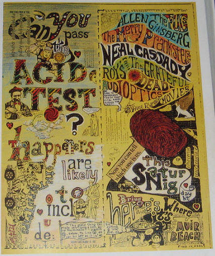 This is a REAl Muir Beach handbill like the one shown above. The difference is that it was not colored in until years later by Sunshine Kesey. This Yellow one was saved by Kesey and found years later along with the Miniature Foster Graduation poster stash, approx. (3) of them. There was only (1) Muir Beach handbill though, that Kesey had saved.