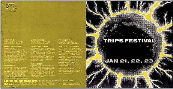 Trips Festival Poster for Longshoreman's Hall Jan. 20, 21, 22, 1966 - This poster is made of cardboard. There are only about a half a dozen known examples.