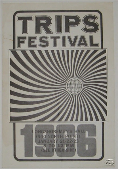 Handbill for the Trips Festival at Longshoreman's Hall Jan 21, 22, 23, 1966 (Wes Wilson Design)