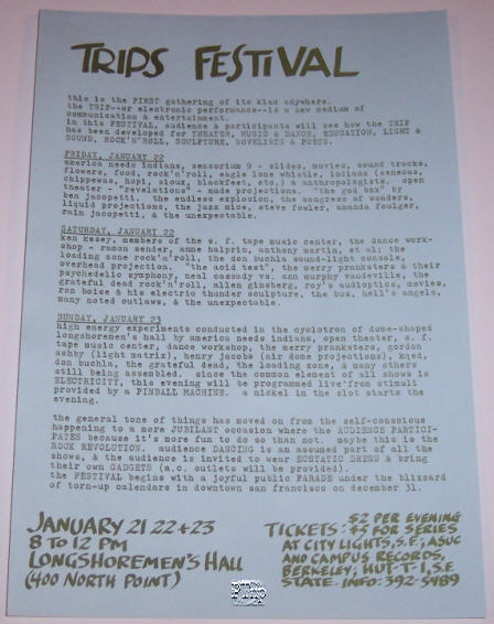 Alternative BG Handbill for the Trips Festival at Longshoreman's Hall in Jan of 1966. This handbill is rarer than the Wes Wilson design.