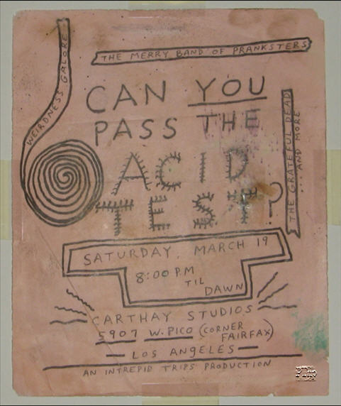 "This is a One-of-A-Kind handbill for the Carthay Studios Acid Test, commonly referred to as ""Pico"", since it was on Pico Blvd. This handbill has the same art style and was done by the same artist as the Fillmore handbill previously shown. So far, this one is the only one to turn up in this style."