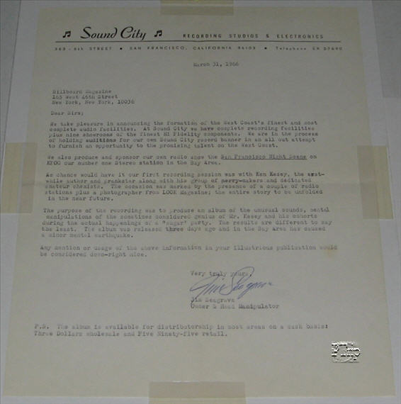 "Letter from Jim Seagraves to Billboard Magazine announcing the Sound City recording and Acid Test that just occured. Mentions the ""sugar cube"" party. This letter, along with the poster shown above, and a 7"" record, all came together from a record swapmeet sale of records from a college radio station."