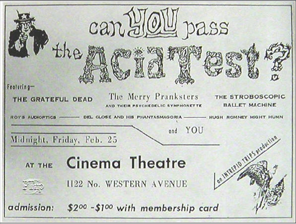 This is a Newspaper Ad for the Cinema Theatre Acid Test. It is the only form of advertising known for this event.