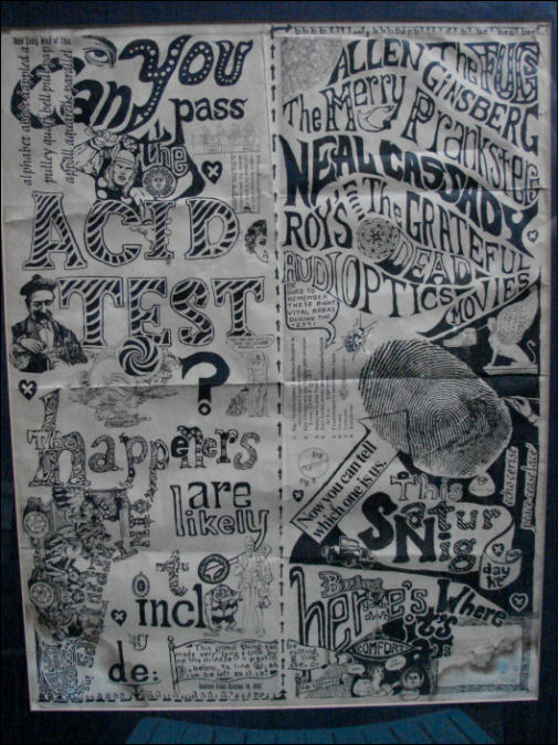 Here is a White Fullsheet Poster that turned up recently from Portland Oregon. It was found when a woman moved into an apartment complex in 1971 that was 7 miles from Beaver Hall, where the Portland acid Test was held. Not sure if there is a connection, but that is a close proximity. <br><br> This poster may be available very soon, after some conservation has been done on it.<br><br>