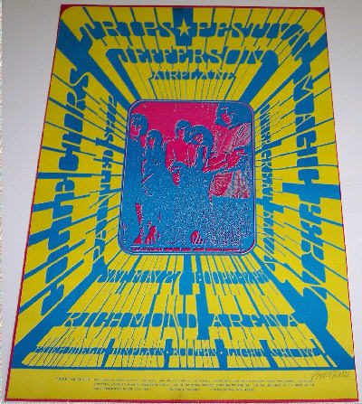 The poster pictured above is a VERY RARE 1st Printing (Prior to the Show) May 27, 1967 Trips Festival (Bob Masse - And came from his Personal Collection) - There are only perhaps 3 to 5 of these known to exist and they are not in very good shape. Occasionally, a 2nd Print, on Thin Paper, with an Orange Border, (Available AT the Show) will appear for sale, and often sells for between $500.00 & $1000.00 when offered, and just as often, is mistaken for a First Printing. The one pictured above is printed on Thick Paper, and has a Pink Border. Also, the pic in the center is vague in the first print, and is clear in the second print. (Pictured Below) - (Many Rare posters such as this one are pictured in the Database.)